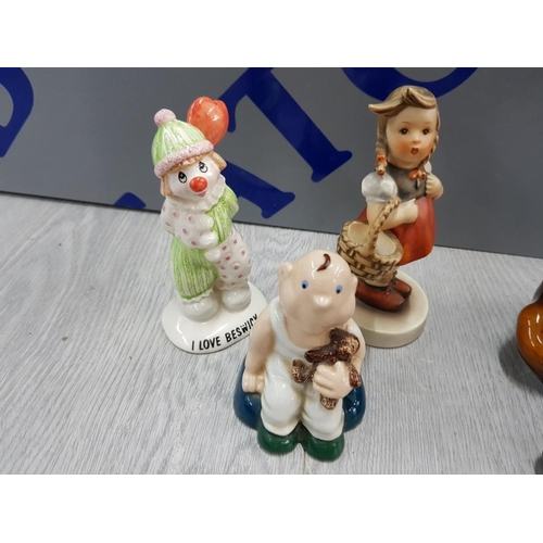 48 - 4 COLLECTABLE FIGURES INCLUDES GOEBEL WEST GERMAN GIRL WITH BASKET, BESWICK CLOWN, WADE BOY WITH TED...