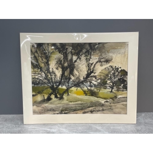 LEONARD LEN EVETTS 1909-1997 WATER COLOUR STUDY OF TREES 26CMS X 34CMS SIGNED BOTTOM RIGHT