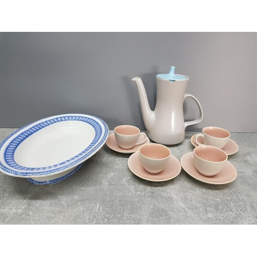 POOLE POTTERY PART COFFEE SERVICE PLUS A WEDGWOOD PARIS BLUE AND WHITE VEGETABLE DISH