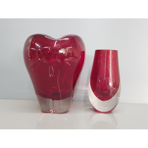 13 - Large cased ruby whitefriars molar 5.5 inch vase together with whitefriars 4.5 inch ruby cased clear...