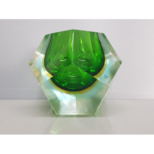 14 - Magnificent vintage 4.5 inch high and wide 1.70 kilo Murano green with orange sommerso cased clear m...