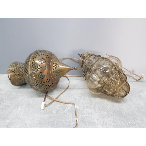 15 - 2 hanging wall light shades one of Persian style in pierced brass the other brass case blown Italian