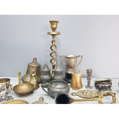 16 - A Quantity of brass pewter and other metal includes candlestick cigarette holder salt and pepper sha...