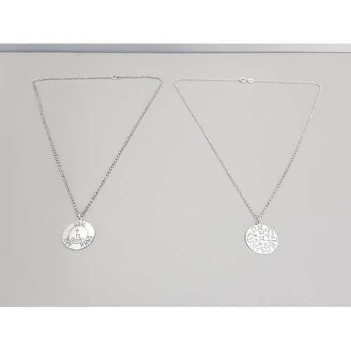 2 - 2 hallmarked silver talisman pendants on 19 inch fine silver Belcher chains issued and made by the c...