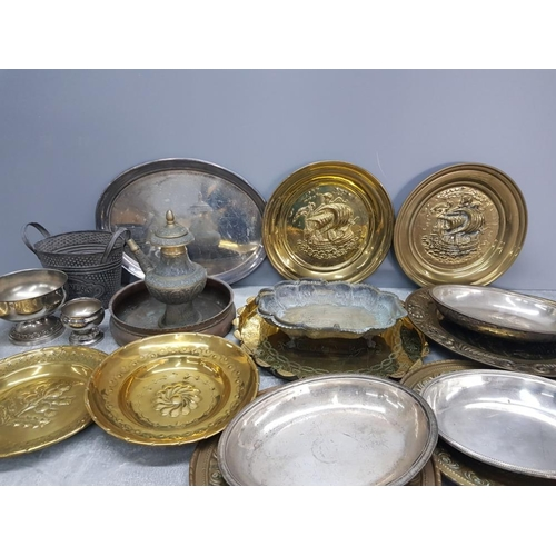 25 - Box of miscellaneous brass and white metal items to include brass plates with ships etc