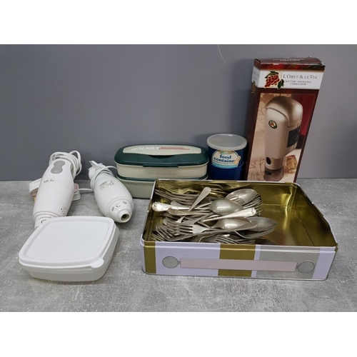 Miscellaneous to include cutlery battery operated cork screw food containers etc