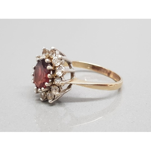 3 - 9ct yellow gold garnet cluster ring with surround of 12 faceted white stones size o1/2 3.5g gross
