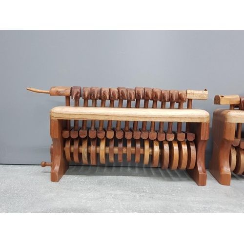 31 - 2 animated centipede runners both hand carved from hardwood