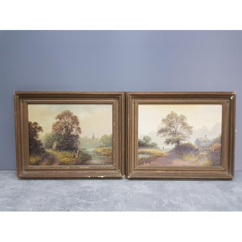 40 - A pair of oils on board both signed by Bill Haunes 39cm by 29cm