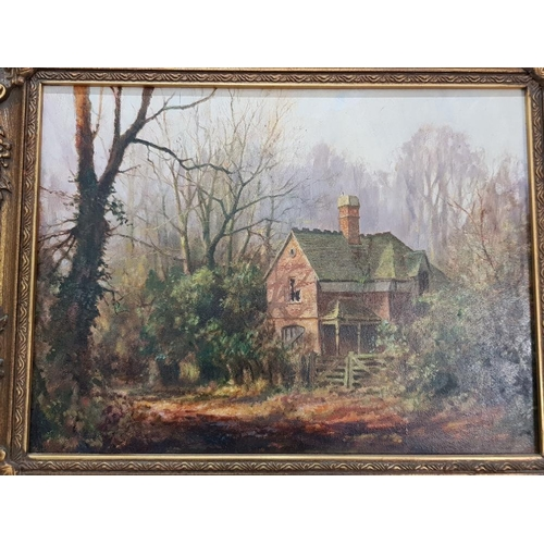 41 - 2 gilt framed oil paintings one on canvas one on board one indistinctly signed