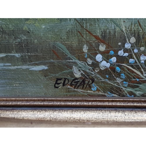 43 - 2 oils on board includes pheasants in flight over a moorland stream signed edgar 24cm by 29cm