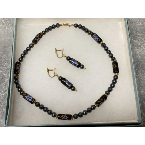 46 - HAEMATITE bead and enamel beaded necklet and drop earrings, boxed