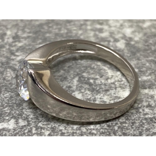 49 - Silver and CZ solitaire ring, size q1/2, 4.7g gross