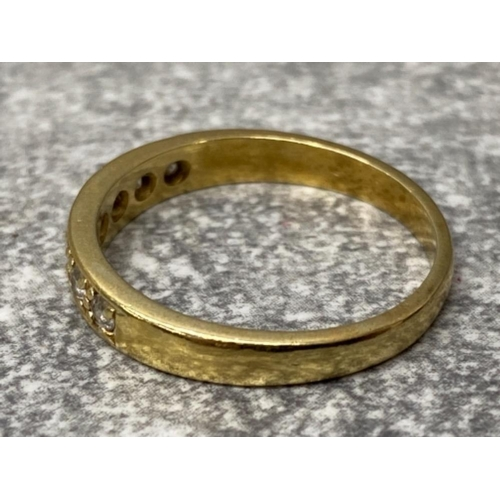 53 - Gold on silver cz set 1/2 eternity ring, 2.2g size p