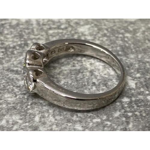 55 - Silver 3 stone cz set ring, 4.1g size N1/2