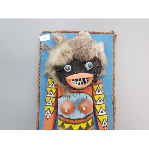 8 - Pueblo kachina style wall hanging hand made and painted in the Navajo or hopi way signed as pictured...