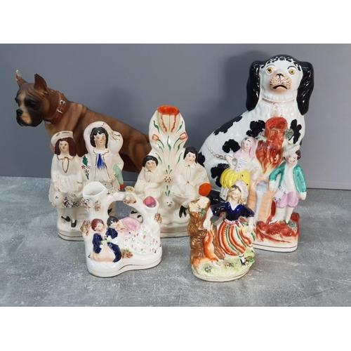 6 Staffordshire figures plus 1 large dog ornament