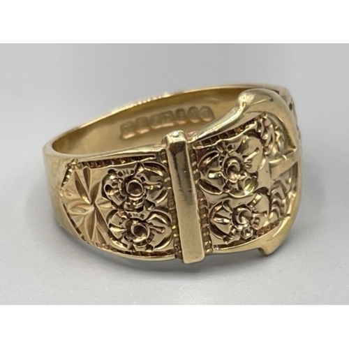 9ct gold buckle ring size Q 5g