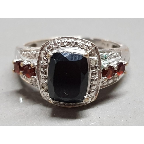 Silver plated 5 stone garnet ring, size S