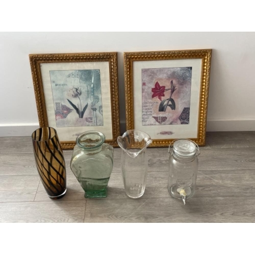 2 framed pictures and 3 vases and drinks dispenser