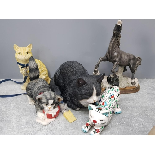 4 large cat ornaments including handmade turkish design together with a rearing horse ornament