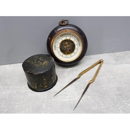 1 - 19th century sailors tobacco box together with vintage brass navigation dividers and portable barome...