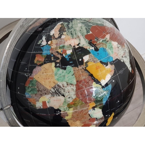 13 - Large Gemstone globe on Metal tripod stand fitted with below compass
