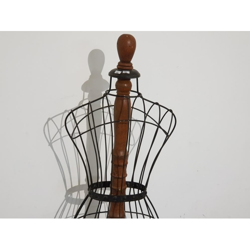 14 - Large metal dress makers mannequin on wooden pedestal stand, height 60
