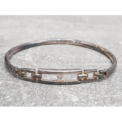 17 - Silver bangle set with CZ centre stone, boxed, 9.4g gross