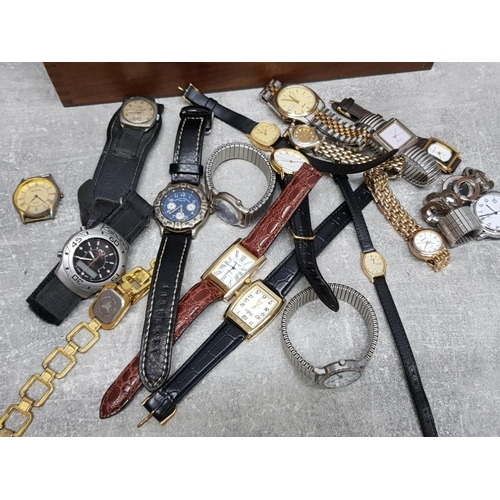 2 - Marlboro USA walnut box containing a collection of wristwatch's