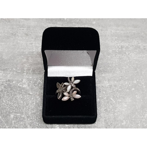 20 - Silver, mother of pearl and marcasite butterfly ring, size S, 5.3g gross