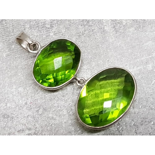 24 - Silver and green stone double drop pendant, 9.6g gross