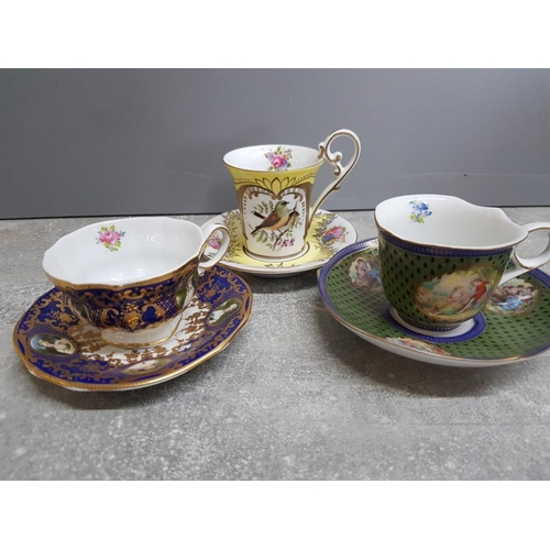 3 Orchid Designs fine porcelain decorative collectors cups and saucers, 3 different patterns, fantastic cabinet pieces