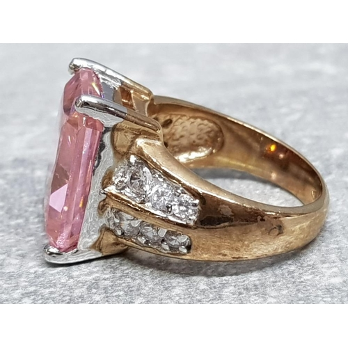 29 - Pink and white CZ gold on silver ring, size P, 13.3g gross