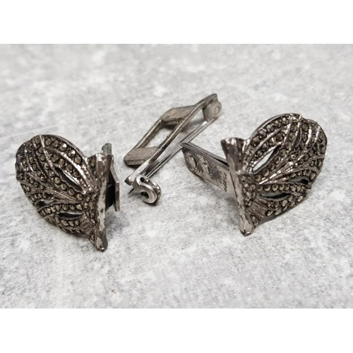 31 - Art deco silver and marcasite double clip brooch