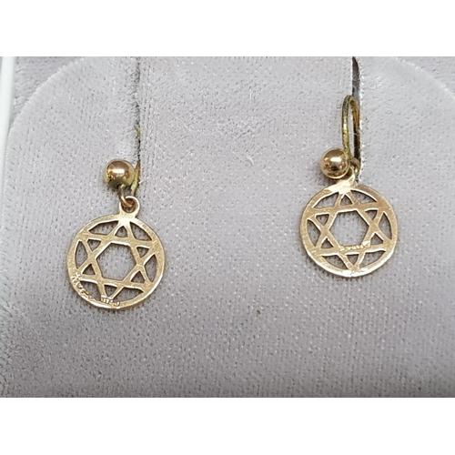 33 - 9ct gold star of david drop earrings, 0.6g