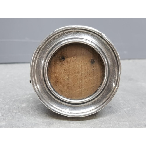 37 - Minature circular shaped silver and wooden photo frame, silver hallmarked Birmingham dated 1916