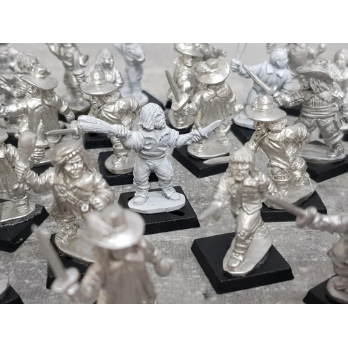 40 - Tub containing around 40 metal wargame minatures Including Aramis Civilians, infantry and Assassins