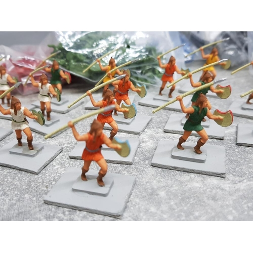 41 - Job lot of plastic military and medieval minatures also includes wargame spear throwers and minature...