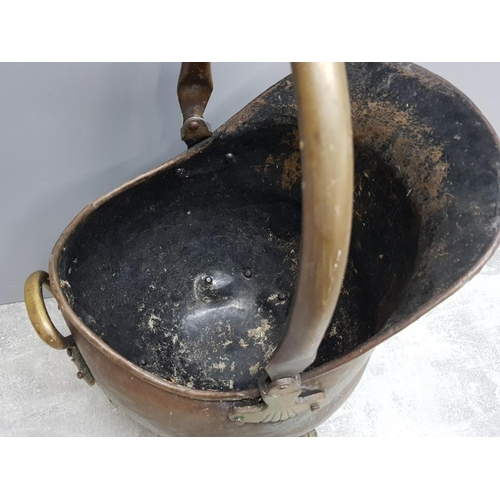 50 - Vintage brass coal scuttle