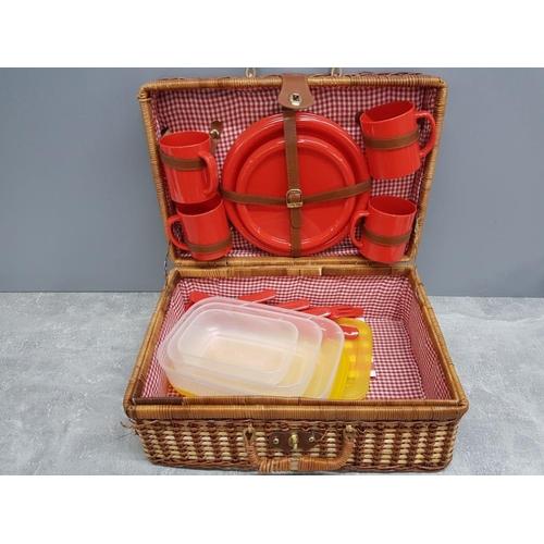 51 - Wicker picnic basket plus contents