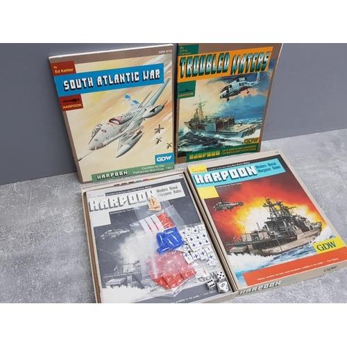 57 - Harpoon Modern Naval wargame plus 2 Harpoon rule books Troubled waters and south Atlantic war