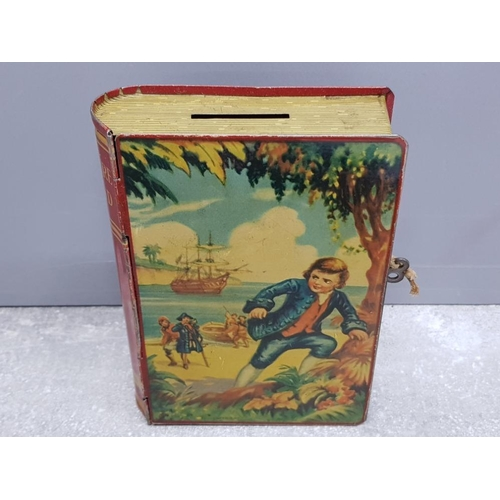 7 - 1950s Chad Valley Tin plate Treasure Island money box with original key and containing mixed coinage