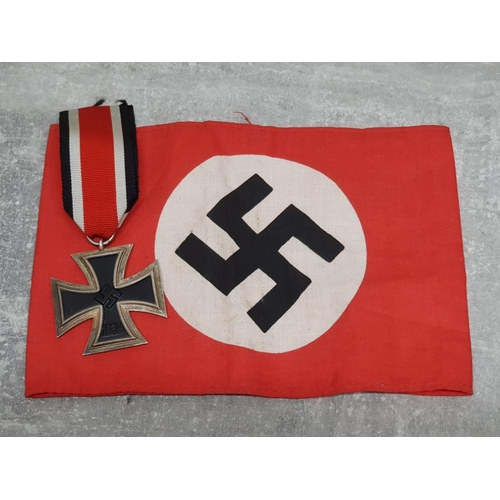 8 - 3 German WW2 reference books plus medal and Nazi armband