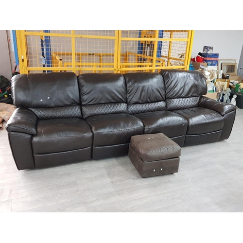 Reclining brown leather 4 seater settee together with storage pouffe