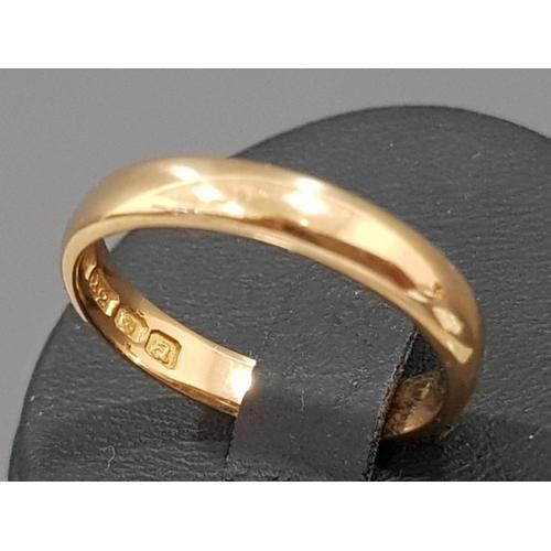 22ct gold ring, London, 1956, L½, 3.8g
