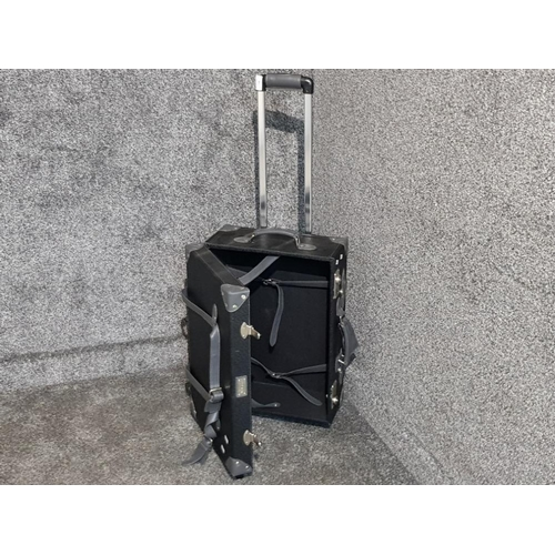 A Mezzi overnight suitcase on wheels.
