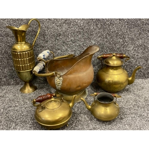 Brass items including teapots and jug