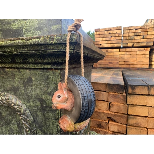 102 - NEW BOXED SQUIRREL IN TYRE ON ROPE