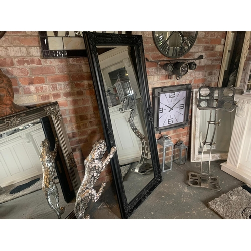 144 - BOXED NEW MASSIVE FRENCH BLACK ORNATE MIRROR (APPROX 180CM X 80CM)